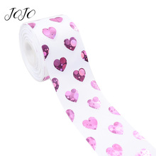 JOJO BOWS 75mm 2y Grosgrain Ribbon Heart Love Laser Webbing For Clothing DIY Hair Bows Holiday Decoration Gift Wrapping Material
