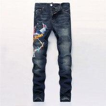 2016 новые дизайнерские мужские джинсы высокое качество вышивка брюки воля бренд одежды эластичный джинсовые комбинезоны байкер уменьшают подходящие