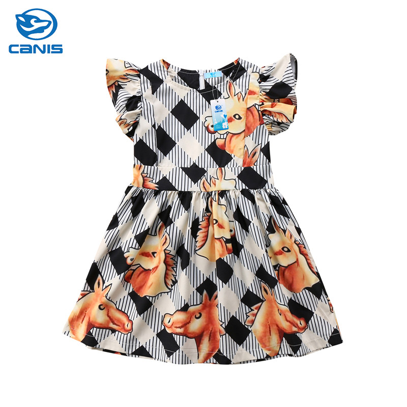 Cute Infant Kid Baby Girls Clothing Ruffle Sleeveless Plaids Horses Animal Print Dress Princess Cute Summer Clothes Outfit 1-6T