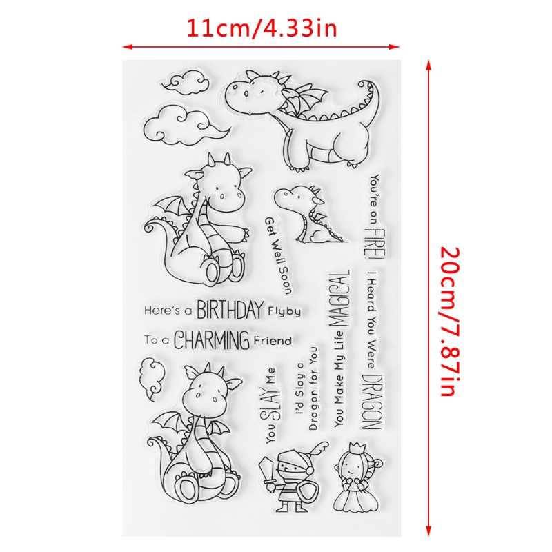 1 Pc Lovely Cute Cartoon Dragon Transparent Stamp Silicone Seal DIY Scrapbook Diary Album Card S9 High Quality Stamp Seal diy lace frame transparent clear rubber stamp seal paper craft photo album diary scrapbooking paper card for wedding gift cc 79