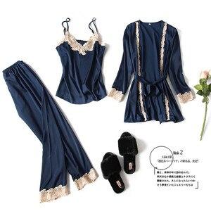 Image 2 - 2020 Three Piece Female Sexy Lace Silk Pajamas Set Robe Sling Pajamas Long Sleeved Pants Women Nightgown Wedding Sleepwear