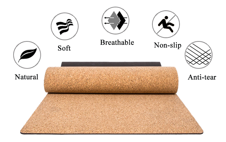 Black Cork Natural Rubber Yoga Mat 15