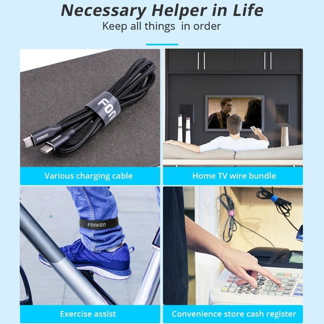 FONKEN USB Cable Winder Cable Organizer Ties Mouse Wire Earphone Holder HDMI Cord Free Cut Management Phone Hoop Tape Protector 4