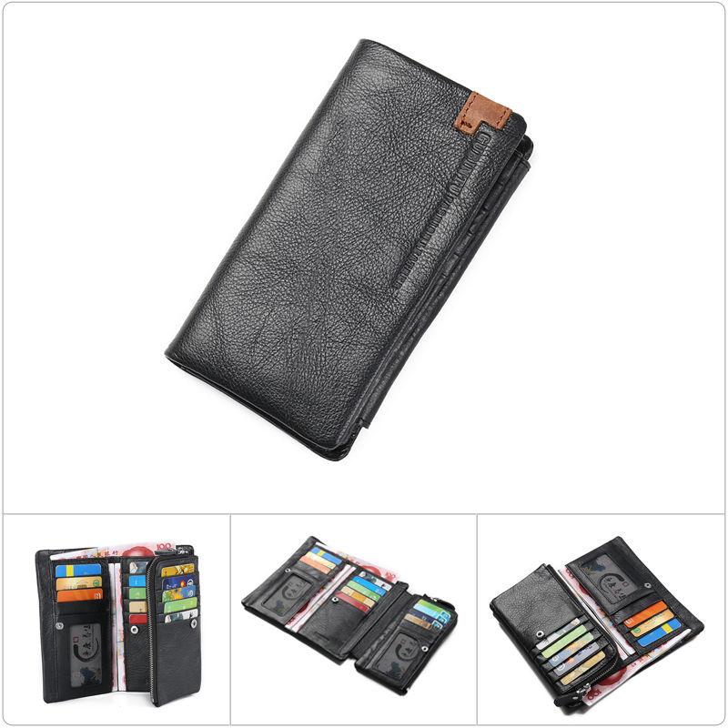 Fashion Men Leather Long Wallet Trifold Clutch Zipper Cell Phone Pocket Handbag Credit Card Holder Purse Bag