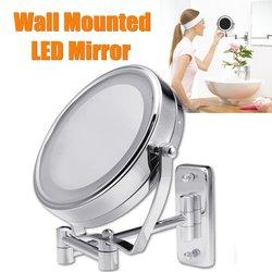 Espejo de maquillaje de afeitado de baño de 6 pulgadas de diámetro con luces LED montaje de pared dos lados extensible giratorio espejo cosmético aumento 7X
