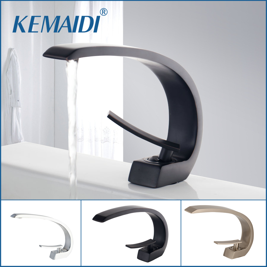 KEMAIDI Bath Basin Faucet Black Brass Chrome Faucet Brush Nickel Sink Mixer Tap Vanity Hot Cold Water Bathroom Faucets