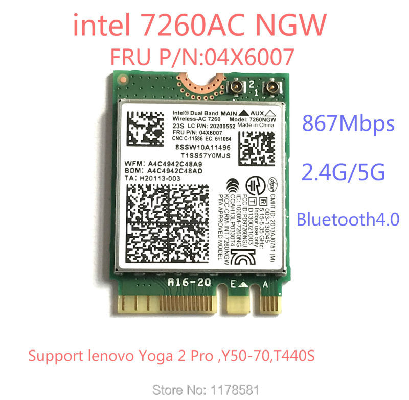 Brand New For Intel 7260NGW 7260ac 7260 Ac 2.4/5G BT4.0 FRU 04X6007 For Thinkpad X250 X240 X240s X230s T440 W540 T540 Yoga Y50