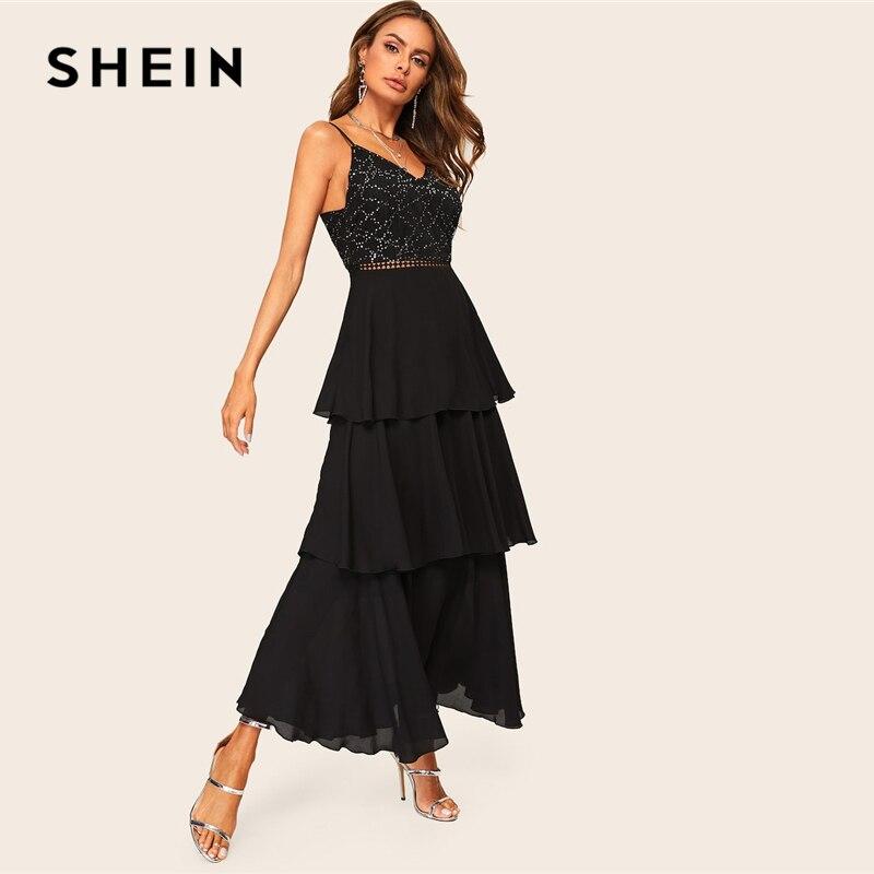 Image 3 - SHEIN Glamorous Black Layered Ruffle Rhinestone Cami Maxi Dress  2019 Spring A Line Sleeveless High Waist Spaghetti Strap  DressesDresses
