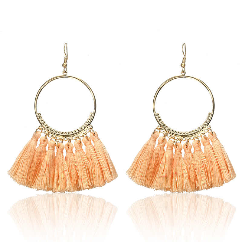 E0101 Bohemian Handmade Statement Tassel Earrings For Women Vintage Round Drop Ethic Earrings Wedding Bridal Fringed Jewelry