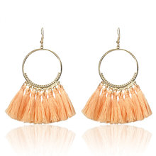 E0101 Bohemian Handmade Statement Tassel Earrings For Women Vintage Round Drop Ethic Earrings Wedding Bridal Fringed Jewelry(China)