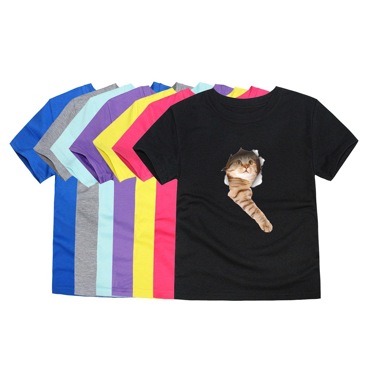 T-shirts Mutter & Kinder Aus Dem Ausland Importiert Neue Jungen Kurzarm Sommer Katze 3d Drucken T-shirts Kinder T-shirts Für 1-14years 12 Farben Mädchen Tops Tier Tees