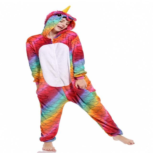 2018 Xmas Gift Adult Unisex Unicorn Onesie Animal Pajamas Kigurumi men  women Halloween Costumes Winter Warm Flannel Stitch 7c274ac72