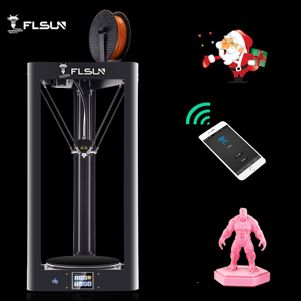 Flsun Kossel 3D Printer Flsun QQ Auto Leveling Glass Version Pre-assembly Delta 3D Printer HeatBed Touch Screen Wifi Power Resum