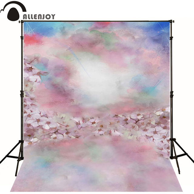 Allenjoy Fotografiche Sfondo Rosa Fiori Nebuloso Cielo Blu Neonato