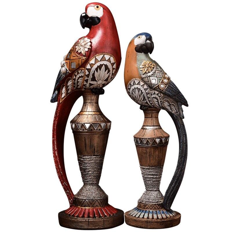 Luxe rétro perroquet balançoire oiseau résine décoration artisanat ménage salon TV meuble décor maison mariage décoration
