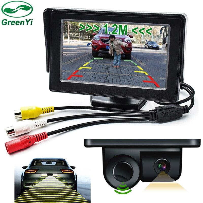 "4.3/"" Display Monitor Car Parking Reversing Radar Rear View Camera Alarm System"