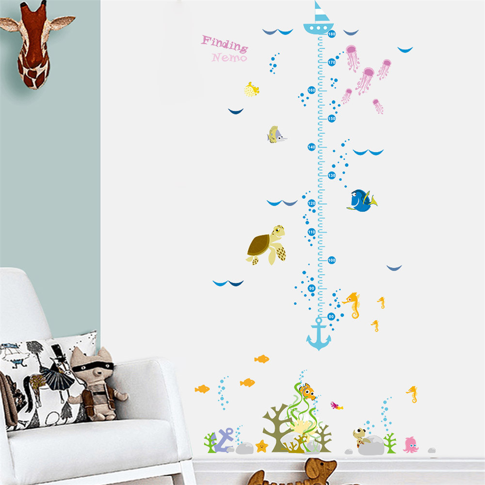 funny Nemo cartoon fish growth chart height measure for baby child wall sticker home decal kids room nursery decor poster