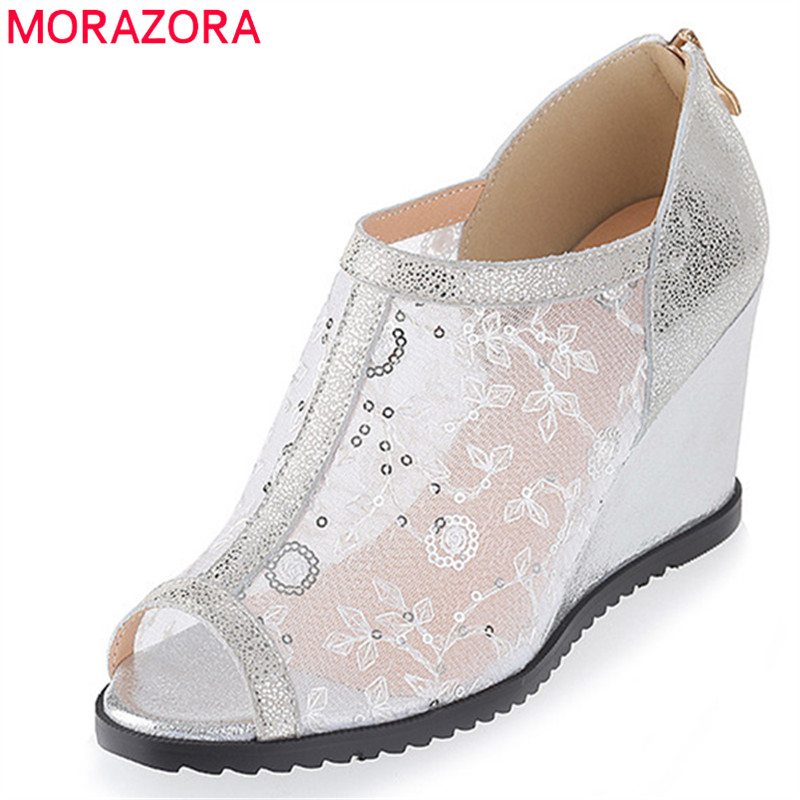 MORAZORA 2019 new fashion women pumps air mesh +genuine leather shoes woman peep toe elegant wedges shoes woman dress shoes MORAZORA 2019 new fashion women pumps air mesh +genuine leather shoes woman peep toe elegant wedges shoes woman dress shoes