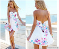 2017 Sale Off The Shoulder Empire Pleated Dress Sexy Women's Sleeveless Floral Print Mini Dress Casual Summer Clothes New
