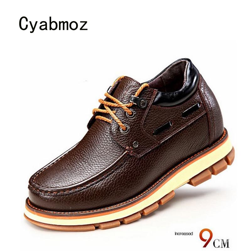 Cyabmoz Genuine leather Invisibly 9cm Men Height Increasing Shoes With Hidden Heels Man Casual Shoes Elevator Lace up Platform полотенце arya miranda 70x140 cream f0002403