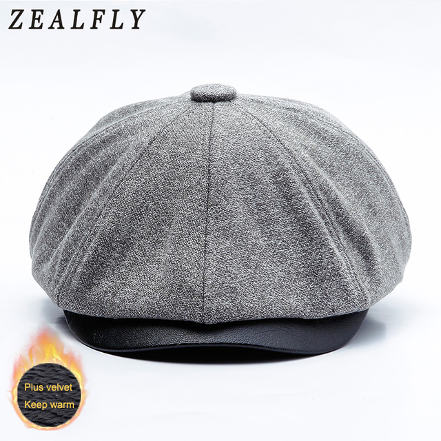 d5a02ce3a New Autumn And Winter Earflap Warm Newsboy Hats For Men British Berets Cap  Plus Velvet Female Octagonal Cap Peaky Blinders Flat