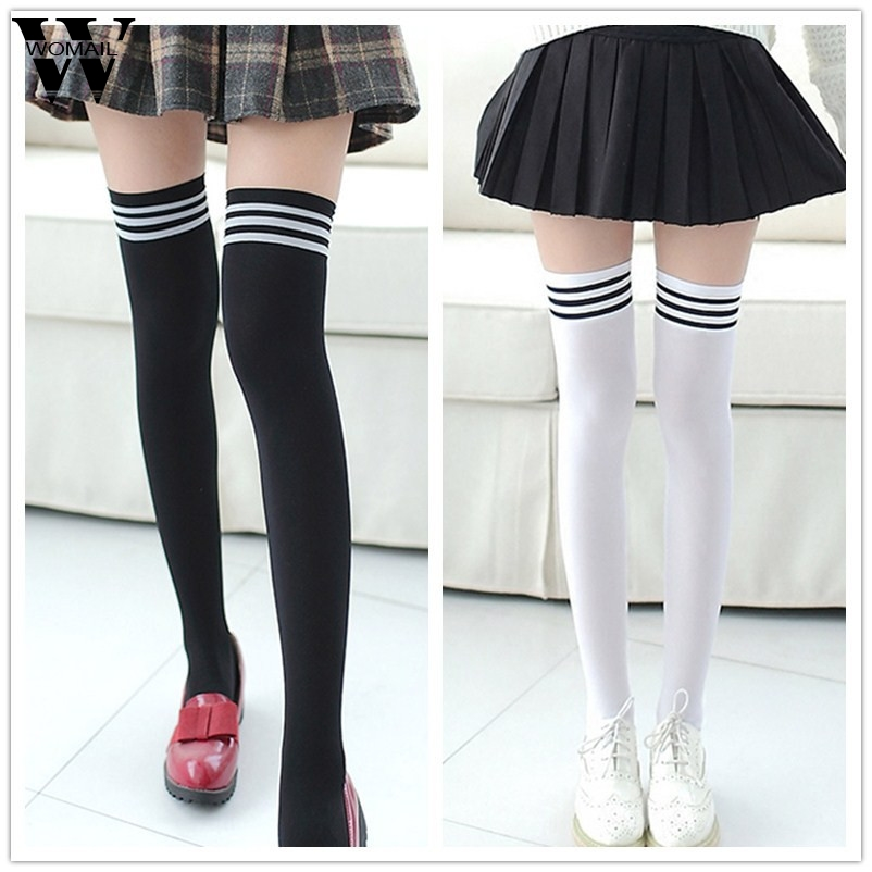 New Socks Fashion Stockings Casual Cotton Thigh High Over Knee Acrylic High Socks Girls Womens Female Long Knee Sock 2018