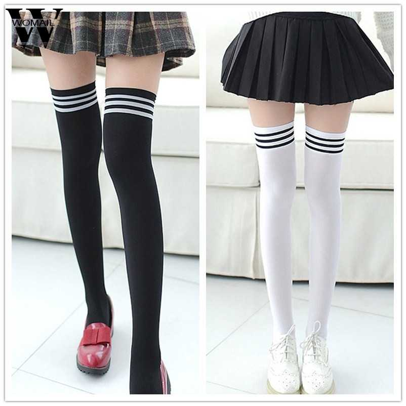d2ca32387e7 New Socks Fashion Stockings Casual Cotton Thigh High Over Knee Acrylic High  Socks Girls Womens Female