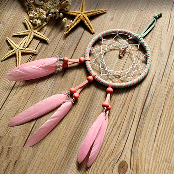 Pink Feather Dreamcatcher Wall Hanging Drop Interspersed Handmade