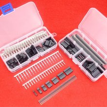 цена на 430 Pcs 40 Pin 2.54mm Pitch Single Row Pin Headers,Dupont Connector Housing Female,Dupont Male/Female Pin Connector Kit