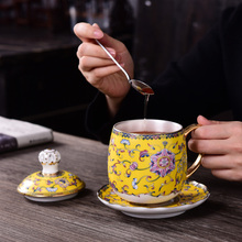 Enamel color Silver Cup Pure Silver Coffee Cup Crown Boss Cup Filter Ceramic Office Tea Cup Gift Box