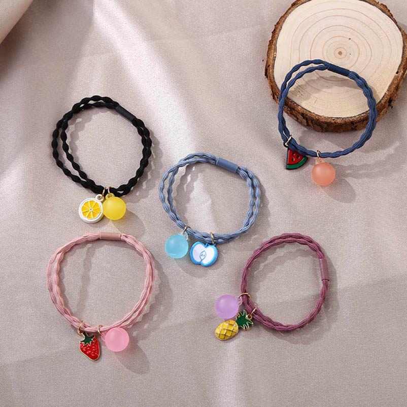 สตรอเบอร์รี่การ์ตูน Pine apple apple แตงโมมะนาวแหวนผมสีชมพูสีม่วงสีฟ้ากาแฟสีเหลือง Ball Headwear สำหรับผู้หญิง