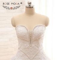 אשליה תחרה עמוק מתוק פרל חרוזים חתונת שמלת מחוך סטרפלס כדור שמלה לבן דבס השמלה לא רכבת תמונה אמיתית