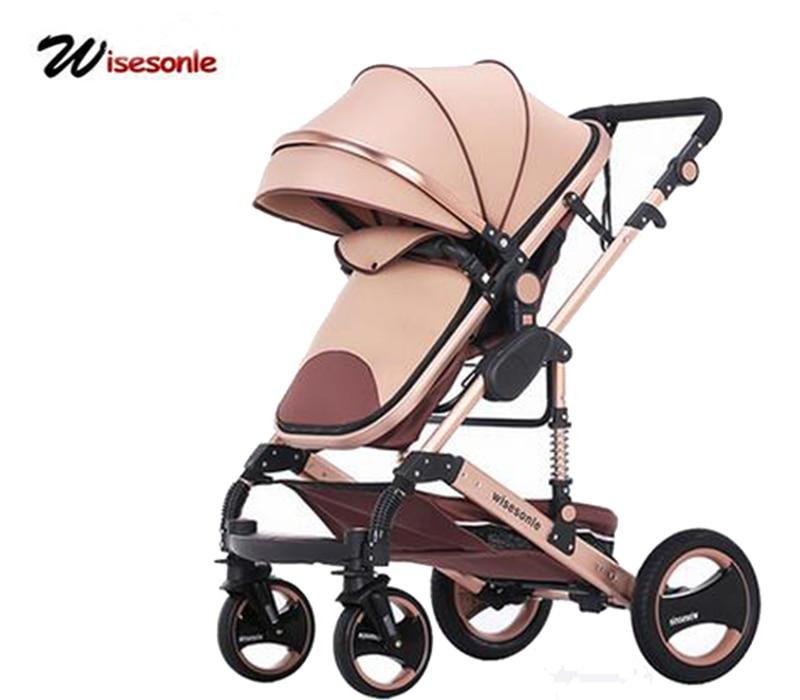 Wisesonle детская коляска 2 в 1 коляски лежать или демпфирования складной легкий вес двусторонняя ребенок четыре сезона Россия бесплатная доставка