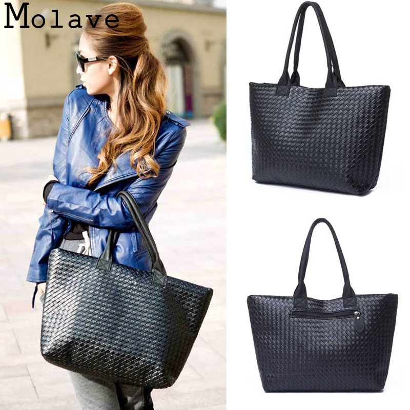 2017 New Fashion Design Women Pu Leather Weave Handbag Female Portable large Shopping Totes Ladies Elegant Shoulder Bag Mar2