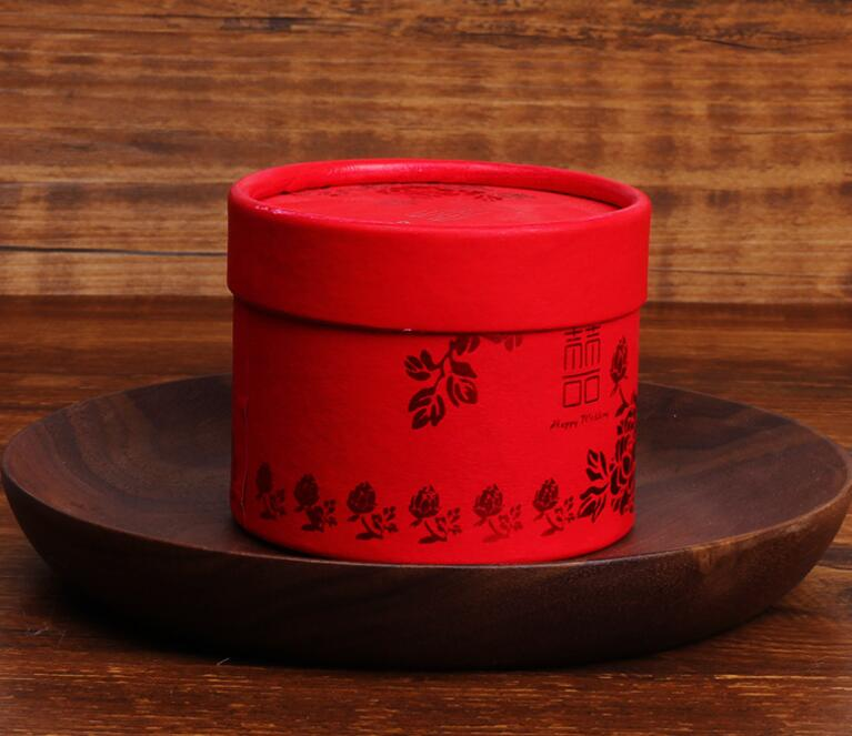 Traditional Chinese Red Bronzing Candy Box Cylinder Paper Wedding Favors Gift 10pcs