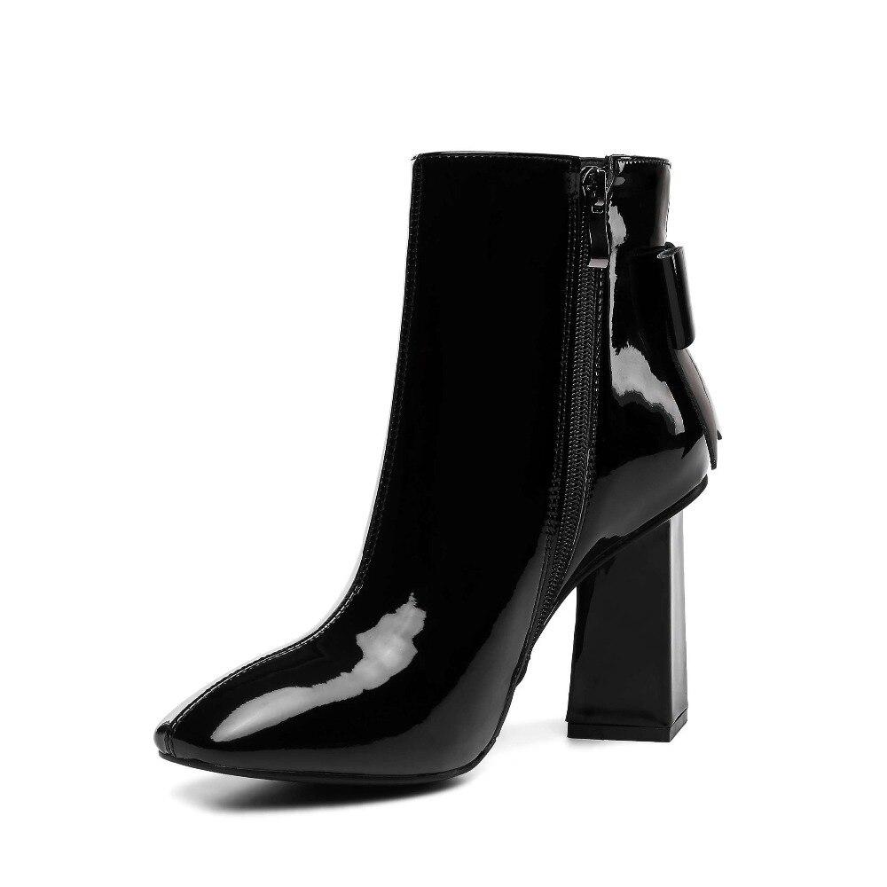 유럽 영화 별 슈퍼 높은 이상한 발 뒤꿈치 암소 특허 가죽 광장 발가락 나비 매듭 지퍼 플러스 크기 중반 송아지 부츠 l95-에서미드 카프 부츠부터 신발 의  그룹 2