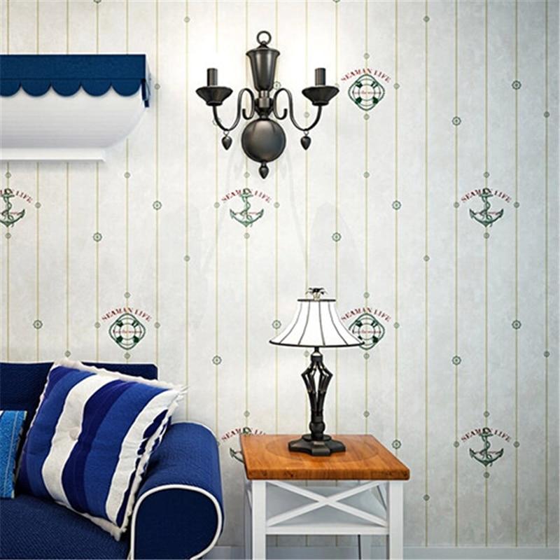 Beibehang chambre chambre garçon anglais vent bleu méditerranéen vertical rayé papier peint nonwovens dessin animé papel de parede