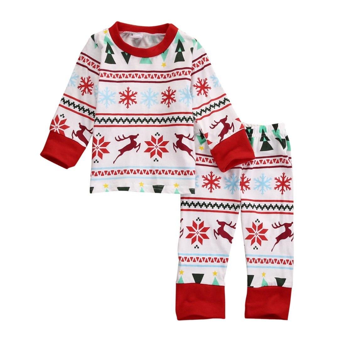 Bebek Çocuk Boys Kız Noel Kar Tanesi Kıyafet Setleri Bebekler Çocuk Oğlan Kız Kar Pijama Gecelik Pijama Pijama Xmas Pjs Set