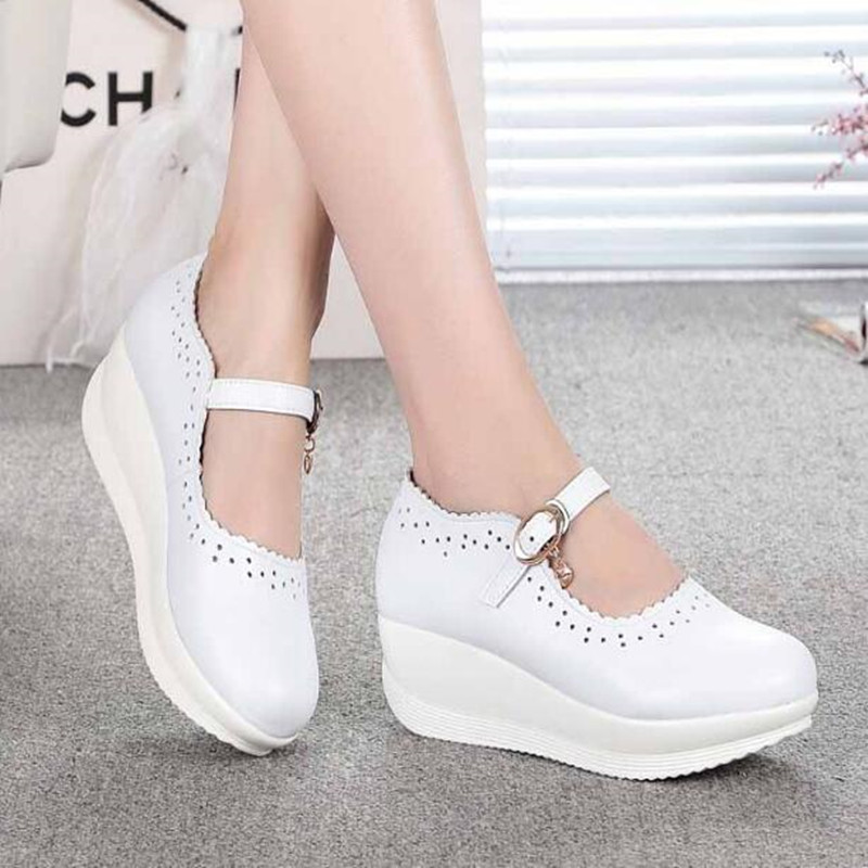 2018 Spring Real Leather Shoes High Heels Round Shallow Mouth Women Shoes Wedge Leisure White Nurse Mom Shoes Shoes Size 33-43 aiyuqi 2018 new genuine leather women s shoes shallow mouth soft nurse shoes comfortable work spring shoes women
