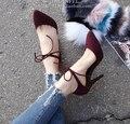 Ж-бесплатная доставка 2016 Европейский взрослых одиночные женской обуви насосы теплые натуральная кожа девушки мода полосы острым носом высокие каблуки