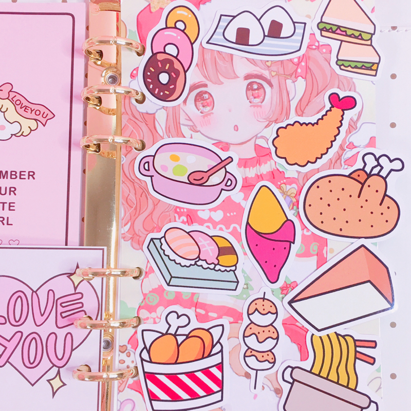 Купить с кэшбэком 12Pcs/Packs Cartoon Food Pattern Oversized Sticker Hand Book Album Note Decoration Delicious Lunch Image DIY Waterproof Sticker