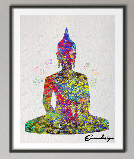 DIY Original Watercolor Buddha OM Yoga Canvas Painting