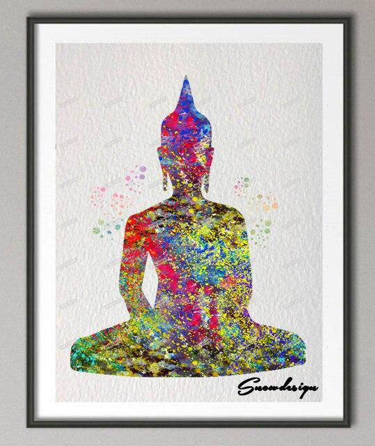 Favoloso FAI DA TE Originale acquerello Buddha OM Yoga su tela dipinto  MA24