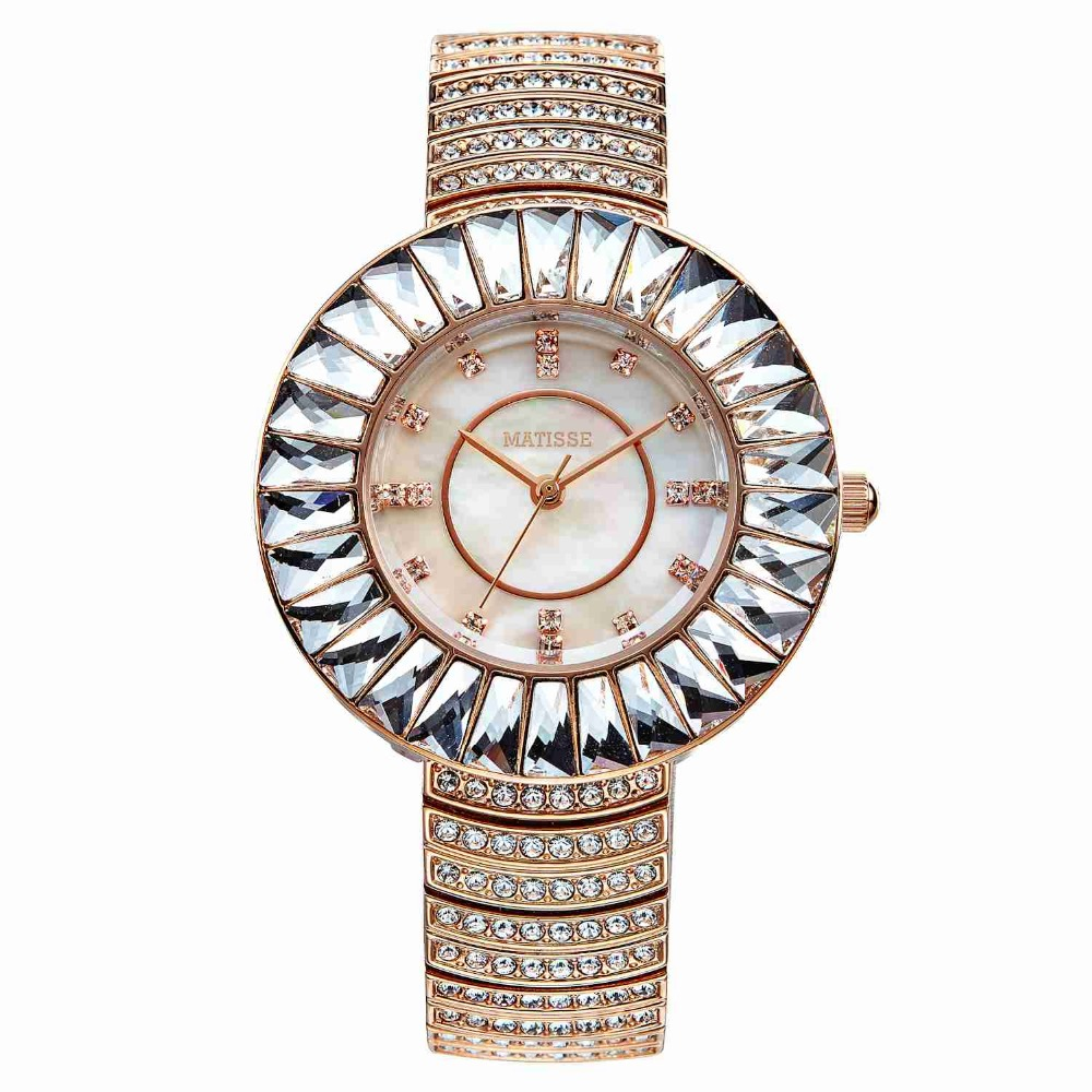 MATISSE Lady Full Crystal Bezel Crystal Scale Mother-Of-Pearl Dial Steel Strap Fashion Wristwatch- Gold lady of magick