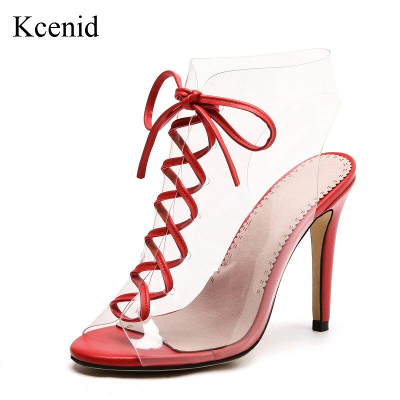 Femmes Taille Kcenid Toe 33 Femme D'été Sexy Pompes attaché Peep rouge Talons Lace Vert Croix Mujer 43 Hauts Up Sandalias 2018 Mode Chaussures Pvc qF7HFr