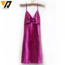 Silk Imitated Womens Dress Satin Sleepwear V Neck Female Nightdress Summer Sleepshirts Nightgown Red Purple White 9 Colors