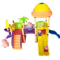 Juguetes serie de juguetes de parque de diversiones villa peppa figuras de cerdos juguetes miembros de la familia juguete bebé chico regalo de cumpleaños