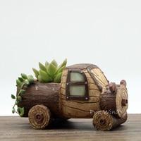 Creative resin car flowerpot Stakes truck cartoon small Flower Pots Creative Desktop plant Pot