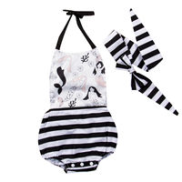 2017 New Toddler Infant Baby Kid Girl Clothes Jumpsuit Cute Bodysuit Headband Outfits 0-24M