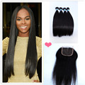 Indian Straight Virgin Hair With Closure Straight Indian Hair Extensions grade Unprocessed Human Hair 4 Bundles with Closure